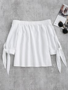 Off Shoulder Tied Sleeve Blouse - White M