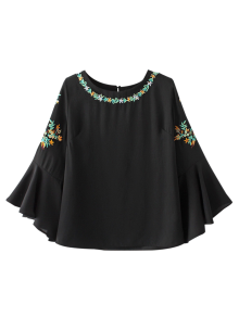Buy Flare Sleeve Embroidered Chiffon Blouse - BLACK M