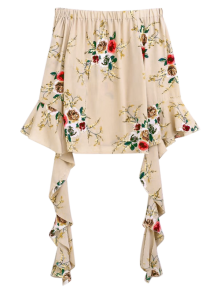 Buy Flare Sleeve Shoulder Blouse - APRICOT S