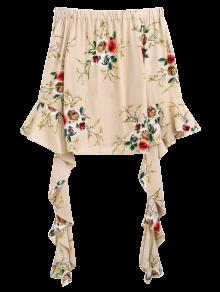 Buy Flare Sleeve Shoulder Blouse - APRICOT L