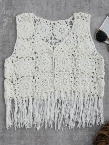 Sleeveless Tassels Crochet Cover Up