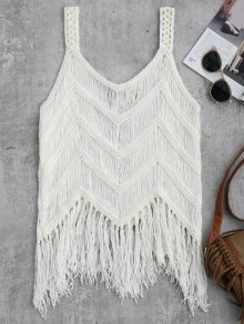 Crochet Tassels Cover Up Tank Top - White L