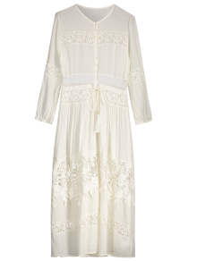 Button Up Lace Panel Drawstring Waist Dress