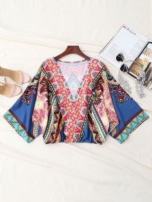 Buy Printed Plunge Surplice Batwing Sleeve Top - COLORMIX S