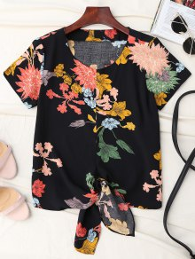 Floral Knot Hem Top - Black