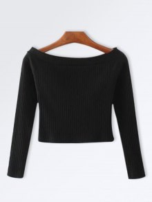 Knitted Ribbed Off The Shoulder Top - Black S