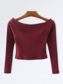 Knitted Ribbed Off The Shoulder Top - Rouge Vineux  S