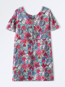 Bowknot Floral Straight Dress