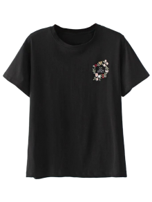 Cute Floral Embroidered T-Shirt - Black M