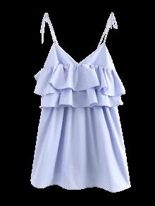 Vestido Casual Con Volantes Estratificados - Azul Claro L