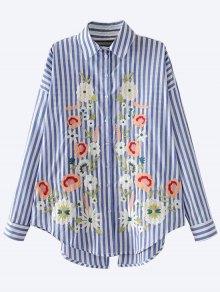 Floral Embroidered Back Slit Shirt - Blue S