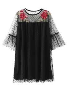 Embroidered See-Through Tunic Dress - Black S