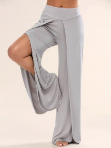 High Slit Palazzo Pants - Gray