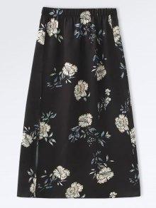 Poplin Floral A-Line Skirt - Black L