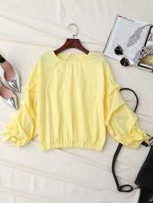 Ruched Cuff Sleeve Elastic Hem Top - Yellow S