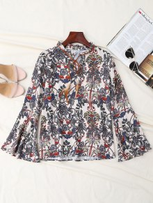 Print Bow Tie Feather Flare Sleeve Blouse