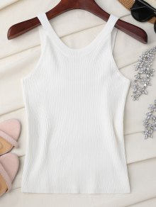 High Neckline Knitted Tank Top - White