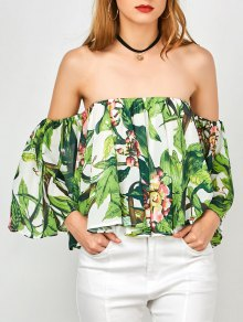 Tropical Print Off Shoulder Butterfly Sleeve Top - Green