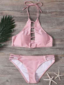 Ladder Cutout High Neck Bathing Suit - Pink