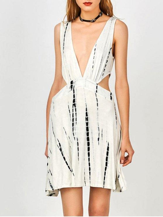 lady Tie Dye Plunge Open Side Tank Dress - WHITE M