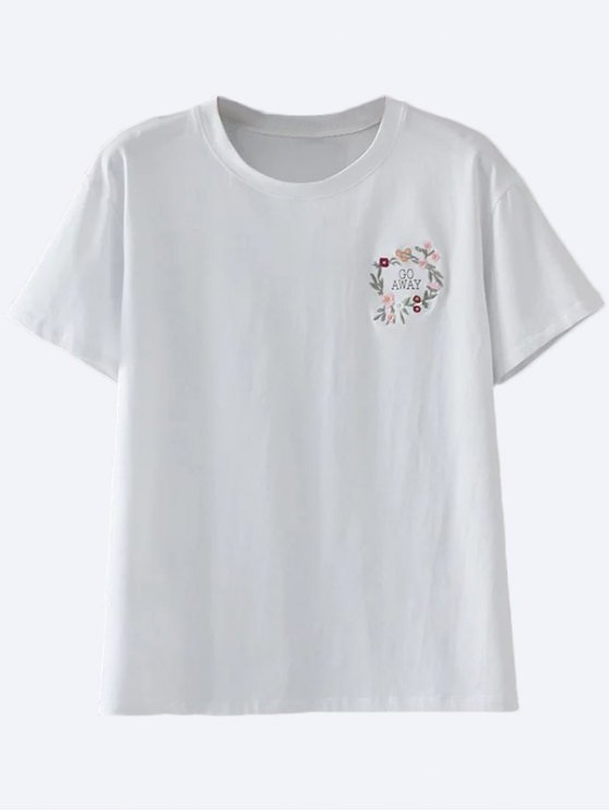 shops Cotton Embroidered T-Shirt - WHITE L