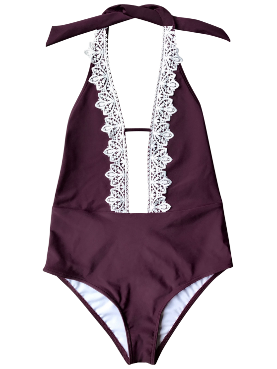 Plunging Neck Backless One Piece Swimsuit - BURGUNDY M Mobile