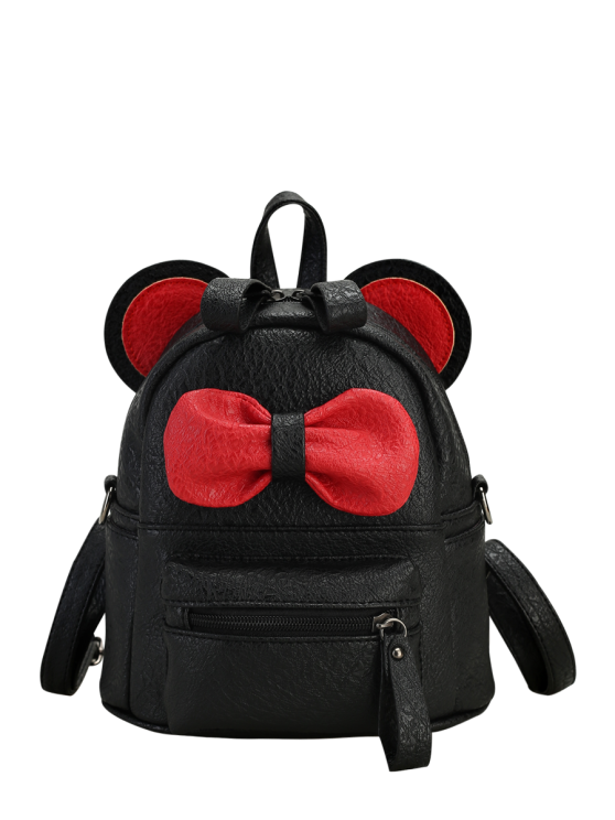 womens Faux Leather Bowknot Ear Backpack - BLACK