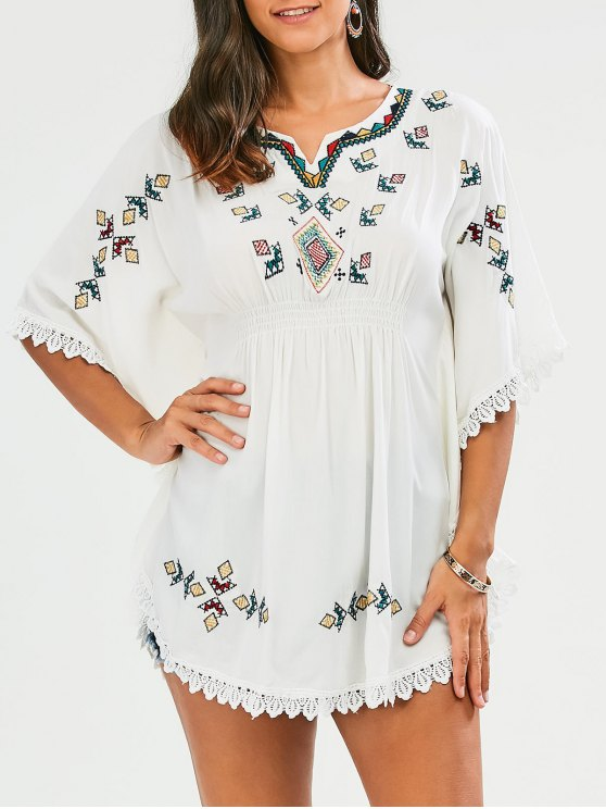 online Embroidered Lace Batwing Sleeve Dress - WHITE ONE SIZE