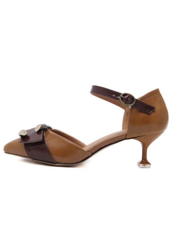 Two Piece Buckle Strap Strange Style Pumps - BROWN 39 Mobile
