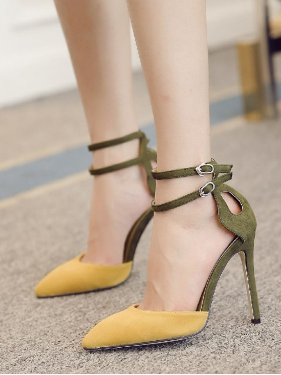 Double Buckle Strap Two Piece Pumps - GINGER 39 Mobile