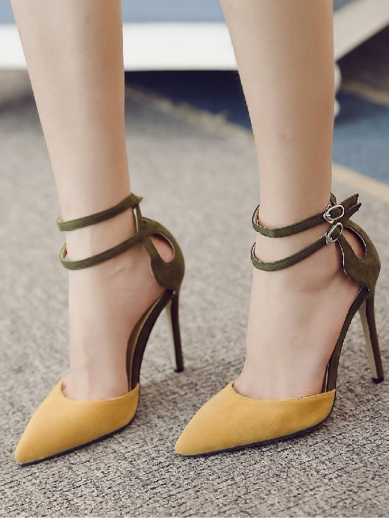 Double Buckle Strap Two Piece Pumps - GINGER 37 Mobile