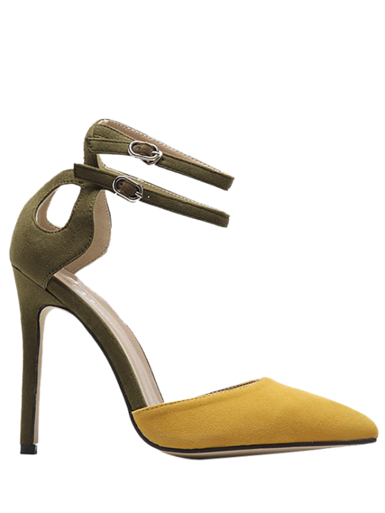 fashion Double Buckle Strap Two Piece Pumps - GINGER 37
