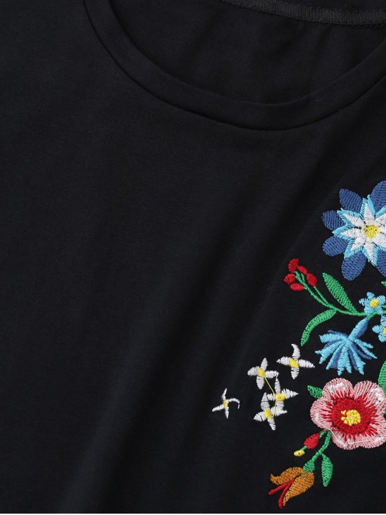 Floral Embroidered Short Sleeve T-Shirt - BLACK S Mobile