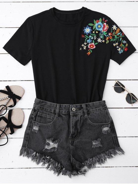 best Floral Embroidered Short Sleeve T-Shirt - BLACK L