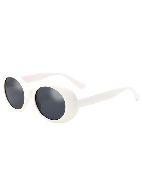 Oval Retro Anti UV Windbreak Sunglasses - WHITE  Mobile
