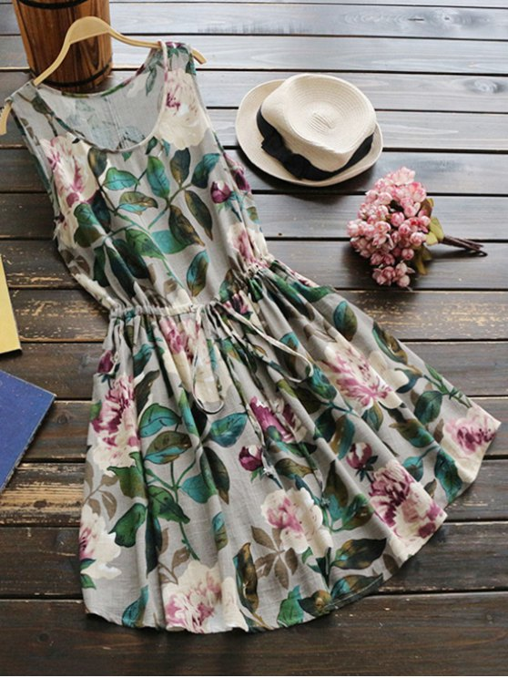 buy Sleeveless Drawstring Waist Floral Linen Dress - GREEN ONE SIZE