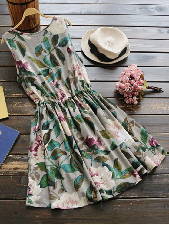Sleeveless Drawstring Waist Floral Linen Dress - GREEN ONE SIZE Mobile