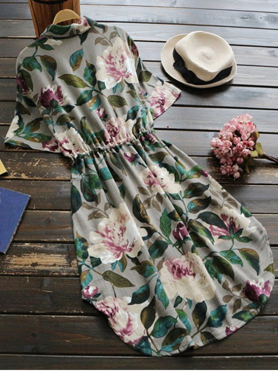 Button Up Floral Drawstring Waist Linen Dress - GREEN ONE SIZE Mobile