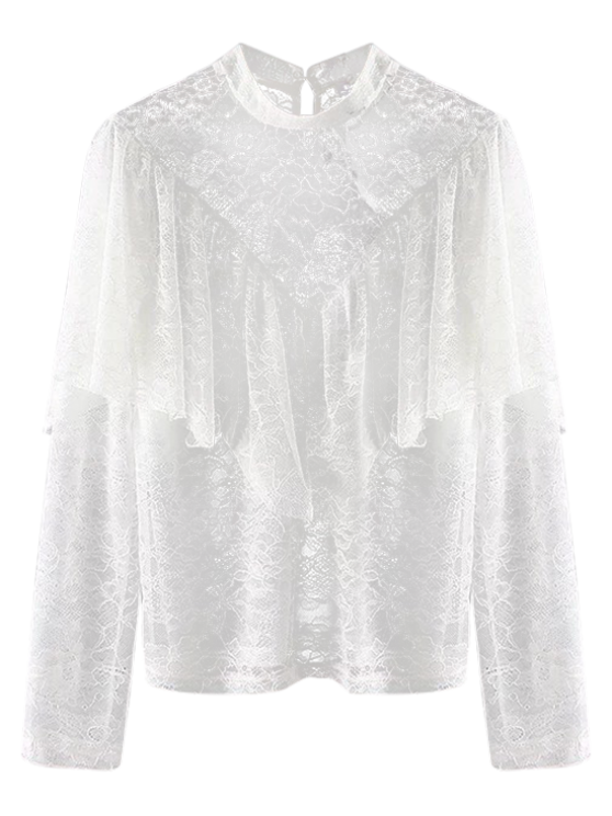 sale Layered See-Through Lace Blouse - WHITE M