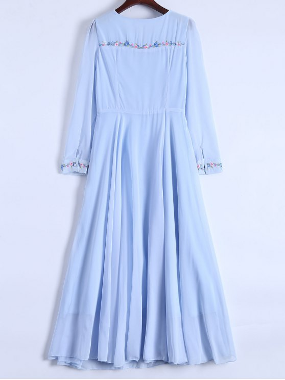Floral Embroidered Long Sleeve Chiffon Dress - LIGHT BLUE M Mobile