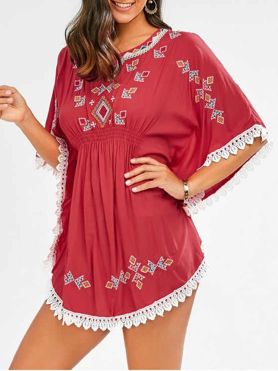 shop Embroidered Lace Batwing Sleeve Dress - RED ONE SIZE
