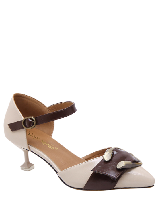 shop Two Piece Buckle Strap Strange Style Pumps - APRICOT 39