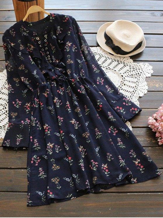sale Long Sleeve Lace Up Ruffle Chiffon Dress - CERULEAN M