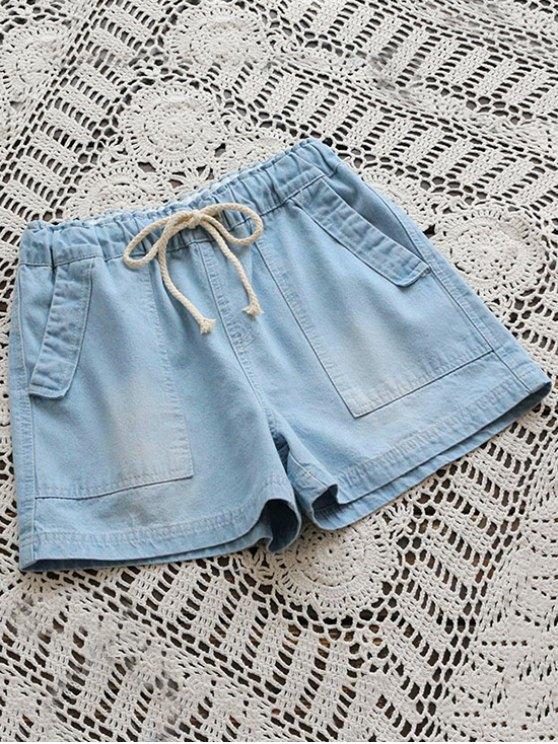 Pantalones cortos de dril de algodón con bolsillos - Azul claro Única Talla