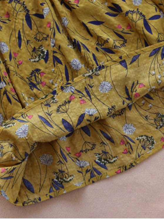 Flower Drawstring Waist Sleeveless Linen Dress - GINGER ONE SIZE Mobile