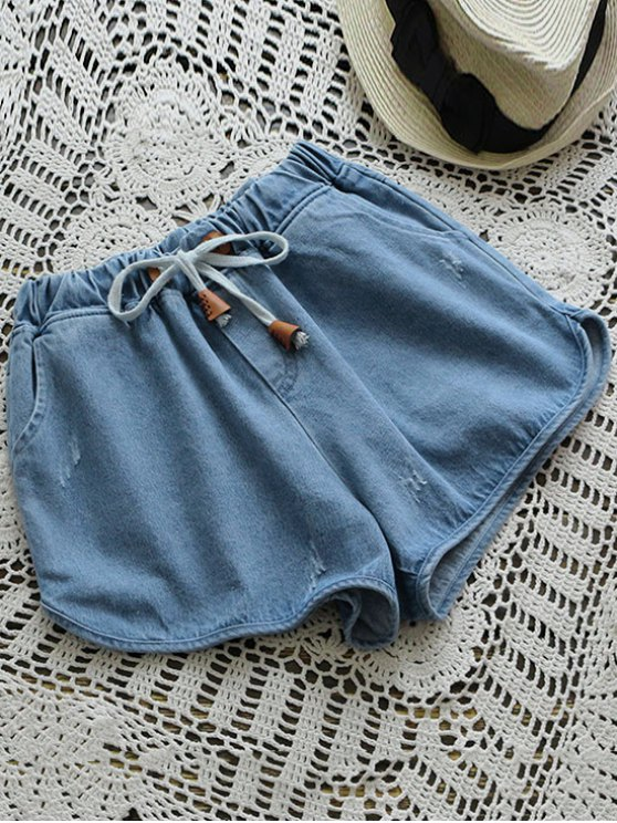 Elastic Drawstring Waist Denim Hot Shorts - DENIM BLUE ONE SIZE Mobile