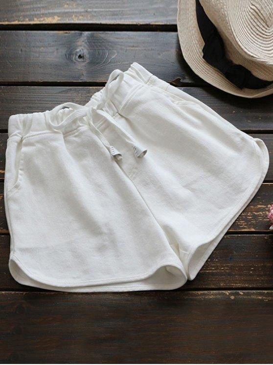 Elástico Drawstring Cintura Denim Hot Shorts - Blanco Única Talla
