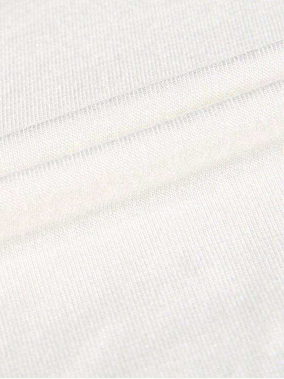 Plunge Neck Dolman Sleeve Shirred Blouse - WHITE XL Mobile