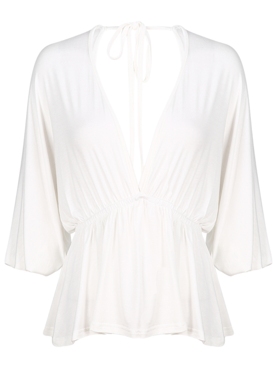 Plunge Neck Dolman Sleeve Shirred Blouse - WHITE L Mobile