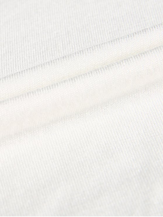 Plunge Neck Dolman Sleeve Shirred Blouse - WHITE M Mobile